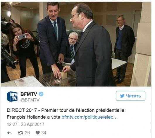 Франсуа Олланд проголосовал напрезидентских выборах